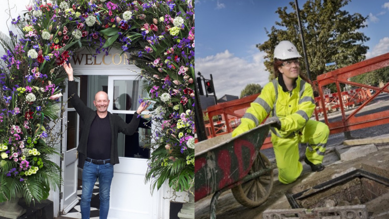 Jonathan, a florist, stands beneath a floral arch he created. Kimberley, a construction worker, wears reflective clothing and crouches with a wheelbarrow in a cordoned area.