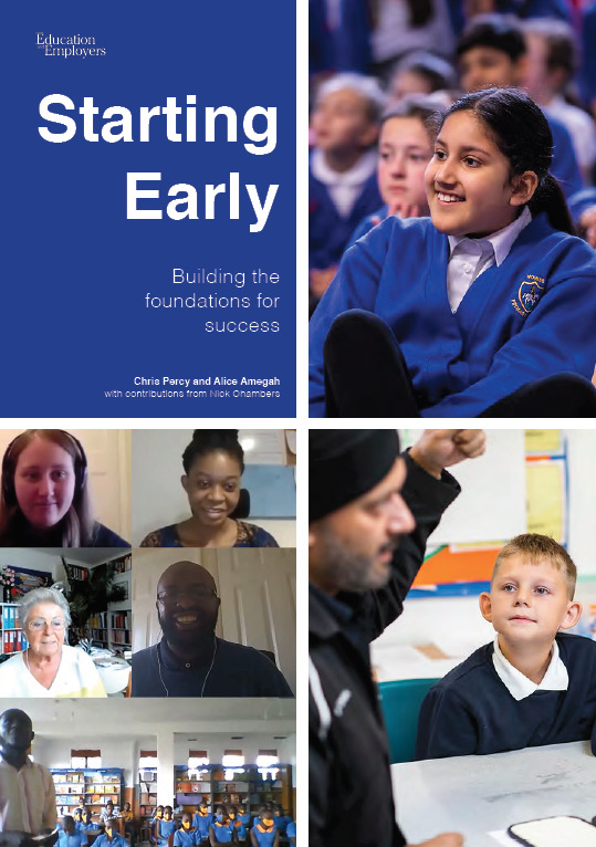Text: Starting Early: Building the foundations for success. Report cover with images of children listening to volunteers, and a virtual session with cameras showing volunteers smiling and a class of children.