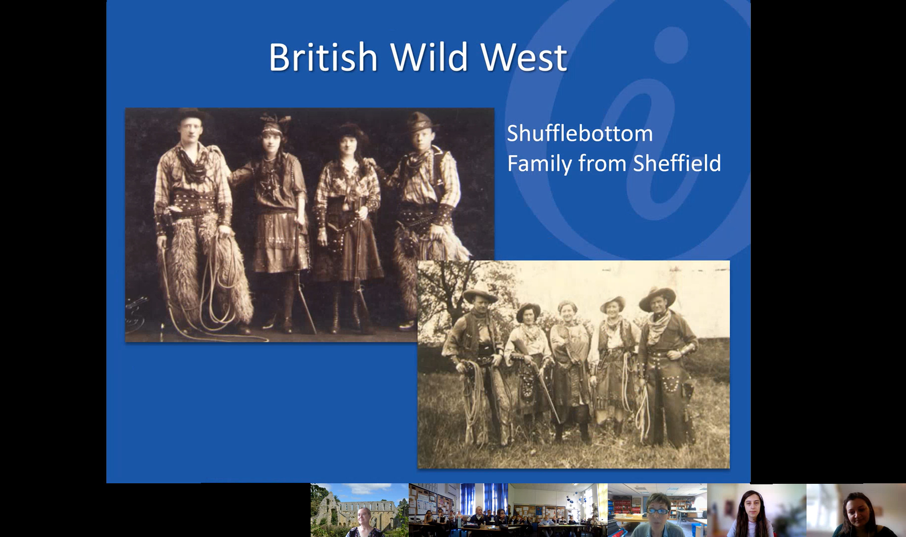 """Presentation slide """"British Wild West"""" showing the Shufflebottom Family from Sheffield in two photos. The photos show men and women dressed in Wild West clothing, with cowboy hats and studded leather, fur and ropes."""
