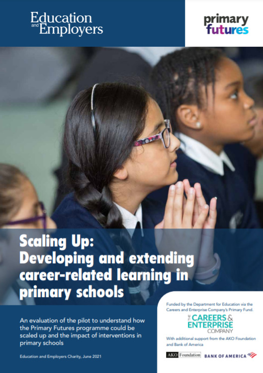 The Scaling Up front cover, featuring an image of three girls sitting, looking at something out of shot. The title reads: Scaling Up: Developing and extending career-related learning in primary schools.